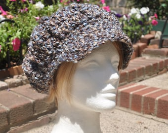 Crochet Newsboy Hat - Brown and Blue Newsboy Cap With Brim - Autumn and Winter Accessories for Women