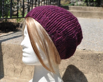 Plum Slouchy Knit Hat - Wool Winter Hat - Unisex Slouchy Beanie