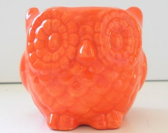Owl Planter Ceramic Mini Owl Desk Planter Vintage Design in Orange Teacher Gift Succulent Pot