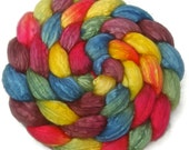 Handpainted Merino Silk 50/50 Wool Roving - 4 oz. ARCADE - Spinning Fiber