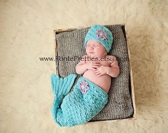Baby Mermaid set aqua blue with lavender flower