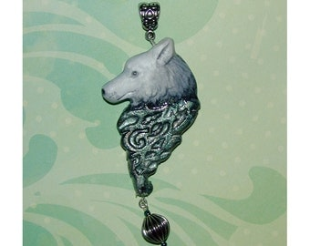 Stunning Wolf Head with Swirl underneath Handmade Clay Pendant