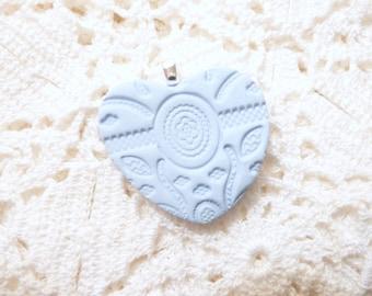 Heart Pendant, Optional Necklace, Heart Pin, Light Blue Jewelry, Wedding Bouquet Charm, Keepsake Flower Girl Gift, Something Blue Bride Gift