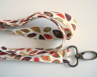Autumn Leaves Fabric Lanyard Keychain ID Badge Holder with Breakaway safety clasp