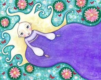 Waterlily girl print folk art painting womens wall art ocean patchwork waterlillies nursery decor whimsical kids room picture purple green