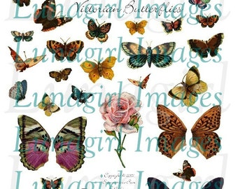 VICTORIAN BUTTERFLIES digital collage sheet vintage images butterfly wings nature garden pictures altered art ephemera printables DOWNLOAD