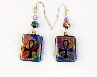 Etched Anhk Earrings, Dichroic Earrings, Fused Glass Earrings, Etched Anhk, Key of Life