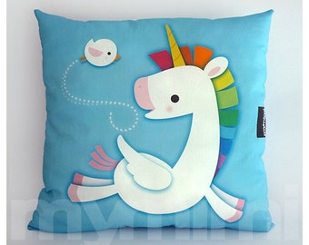 "16 x 16"" Decorative Pillow, Rainbow Unicorn, Unicorn Pillow, Pegasus, Cotton Pillow, Throw Pillow, Kawaii, Girls Room Decor, Nursery Pillow"