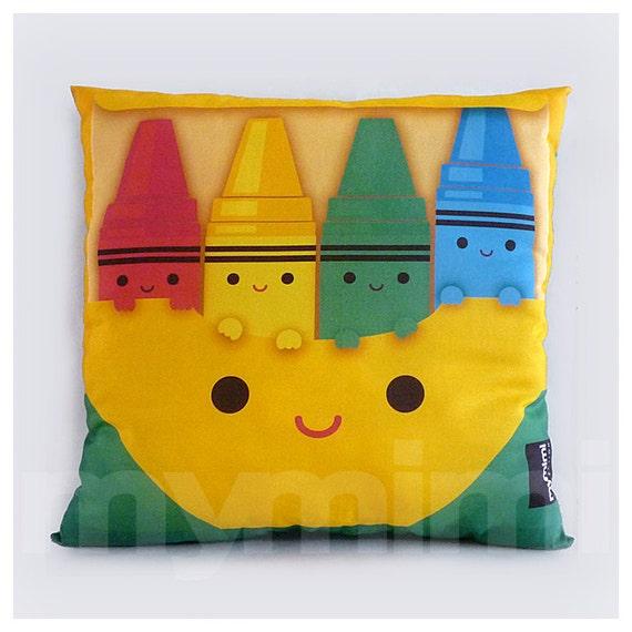 "Children's Pillow, Rainbow Pillow, Rainbow Crayon, Crayon Pillow, Stuffed Toy, Children's Playroom, Toy Cushion, 16 x 16"""
