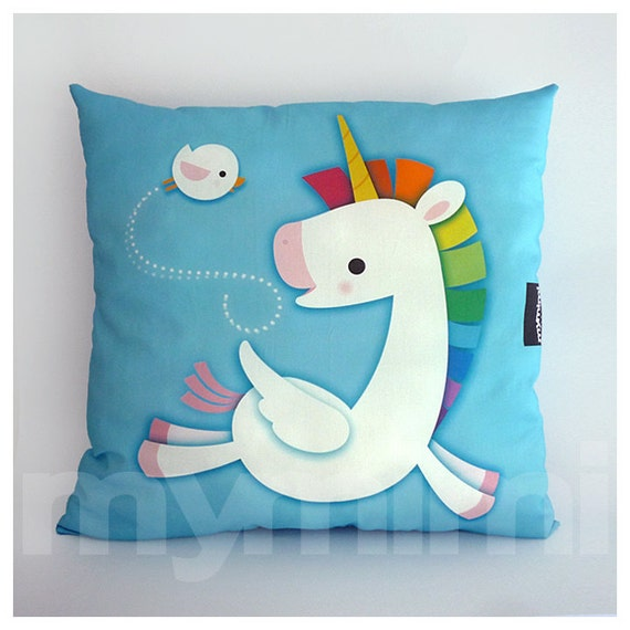 "16 x 16"" Decorative Pillow, Rainbow Unicorn, Unicorn Pillow, Pegasus, Cotton Pillow, Throw Pillow, Kawaii, Girls Room Decor, Nursery Pillow"