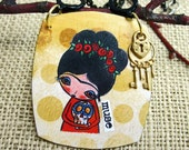 Pendant Necklace - Altered Game Piece Frida with Sugar Skull