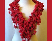 Red Berries Crochet Scarf Cowl Wrap - Bobbles Lariat