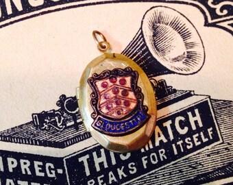Vintage ENAMEL GLOUCHESTER LOCKET England Souvenir Brass Shield
