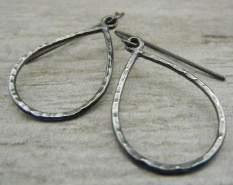 Teardrop Earrings - Silver Earrings - Dangle Earrings - Oxidized Silver - Hammered Earrings - Minimalist Earrings - Wire Earrings