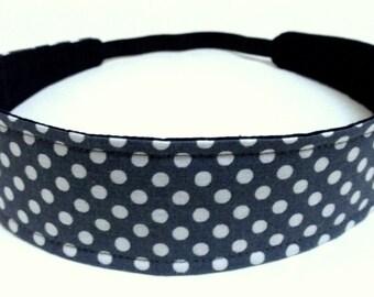 Headband Reversible Fabric -  White Polka Dots on a Gray Background  -  Headbands for Women - GREY POLKA DOTS