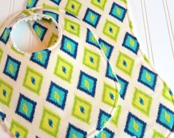 SALE - Baby Bib & Burp Cloth Set Gender Neutral  - Super Absorbent Chenille - Triple Layers Design  -  Mod Diamonds in Blue and Green