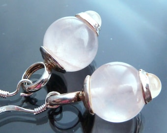 Ball Orb Earrings Rose Quartz sterling silver gemstone bullet & round pink ball sphere bauble celestial 80s