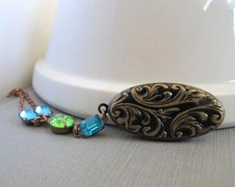 Locket Necklace, Oval Locket, Chain Necklace, Copper Chain, Rhinestone Jewels, Aquamarine Glass, Peridot Green, Vintage Jewels