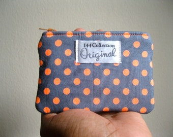 Neon Orange Polka Dots Coin Purse, Change Purse, Coin Pouch, Zipper Coin Purse, Small Purse