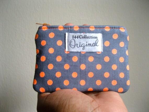 Neon Orange Polka Dots Coin Purse, Change Purse, Coin Pouch, Zipper Coin Purse, Small Purse