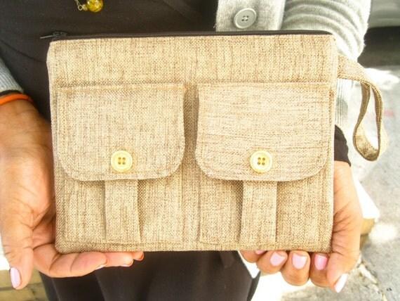 Wristlet Wallet - Gold Linen Shimmer Wallet Wristlet