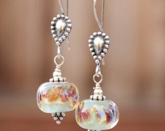 Lampwork Earrings - Mint Green - Sterling Silver