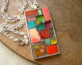 Mosaic Art Pendant with Chain: FRUITY Tropical Colorful Mixed Media Assorted Glass and Tile Design OOAK Red Pink Salmon Aqua Green Orange - GeminiMoonMosaics