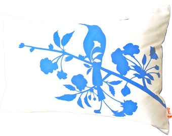 Limited Time Sale Royal Blue on Off White Blooming Blossom Rectangle Pillow
