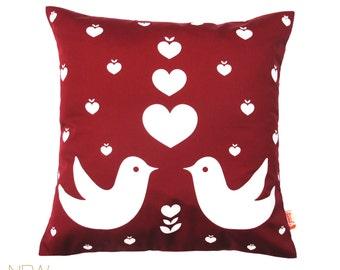 Red Love Birds Pillow 13 Inches Square