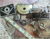 lot of distressed as found  vintage radio parts industrial steampunk assemblage mixed media supplies