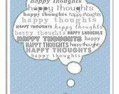 Positive Thinking Art Print. Think Positive Thoughts Typographic Print. Happy Thoughts Wall Art. Baby Blue And Grey Word Art. Office Decor.