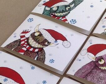Christmas Card Pack: Monster Santa's [Set of 6]
