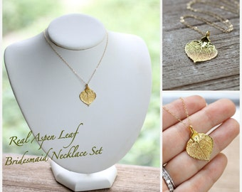 Leaf Necklaces, Bridesmaid Gifts Set, Fall Wedding Jewelry, Real Gold Aspen Leaf, Autumn Wedding, Outdoor Wedding, Simple Thank you Gift