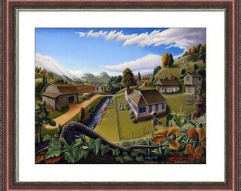 Folk art farm American Appalachia framed matted landscape print, Appalachian farmhouse decor, Americana, by Walt Curlee