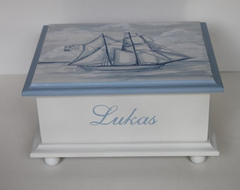 Baby Keepsake Box Baby Memory Box for boy watercolor clipper ship sailing baby gift hand painted personalized nautical gift