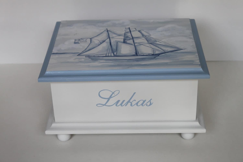 baby keepsake box baby memory box for boy watercolor clipper. Black Bedroom Furniture Sets. Home Design Ideas
