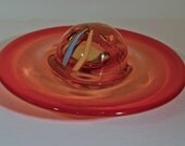 Strange Red Blown Glass UFO - End of Day Sculpture Whimsy - Stopper? Paper Weight? Saturn?