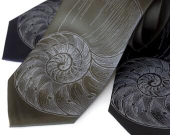 Nautilus Shell men's tie. Screenprinted silk necktie - golden ratio. Choose narrow or standard width.