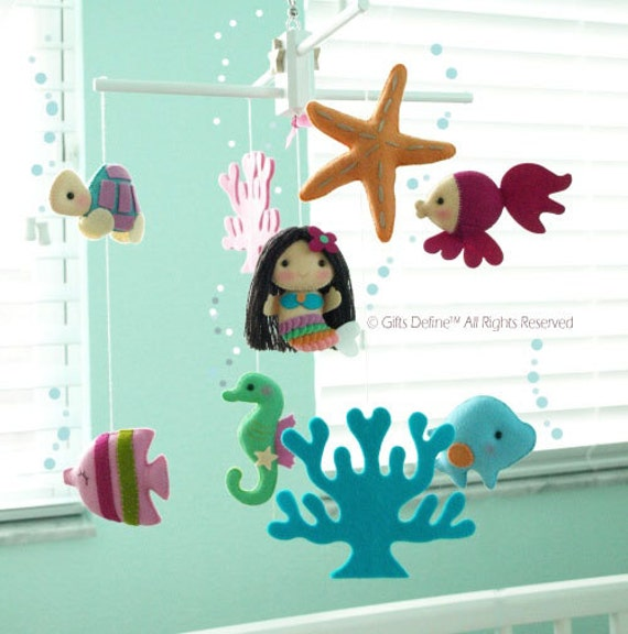 Baby boy bedding nautical - Free Us Ship Musical Baby Mobile Mermaid And Under By