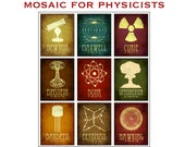 Physics Mosaic 24x30 - Physicist Rock Star Scientists Steampunk Poster - Collection of 9 Scientific Illustrations of Phyciscists