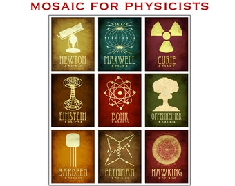 Physics Mosaic 8x10 - Physicist Rock Star Scientists Steampunk Poster - Collection of 9 Scientific Illustrations of Phyciscists