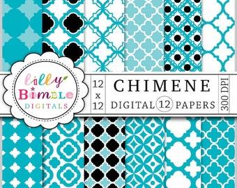 80% off Quatrefoil digital scrapbooking papers in blue, black, lattice, cathedral patterns digital download