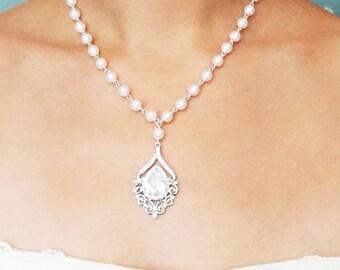 Pearl Bridal Necklace, Teardrop Wedding Necklace, Rhinestone Bridal Jewelry, Vintage Wedding Jewelry,  Pearl & Crystal Jewelry, JULIANNE