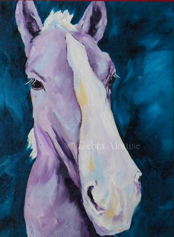 Foal Original Oil Painting Colorful Horse by  California Artist Debra Alouise