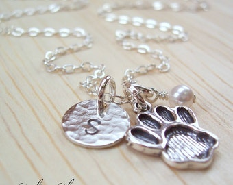 Personalized Dog Paw Charm Necklace, Dog Lover Gift, Personalized Gift, Dog Paw Jewelry, Hand Stamped Sterling Silver, Initial Necklace