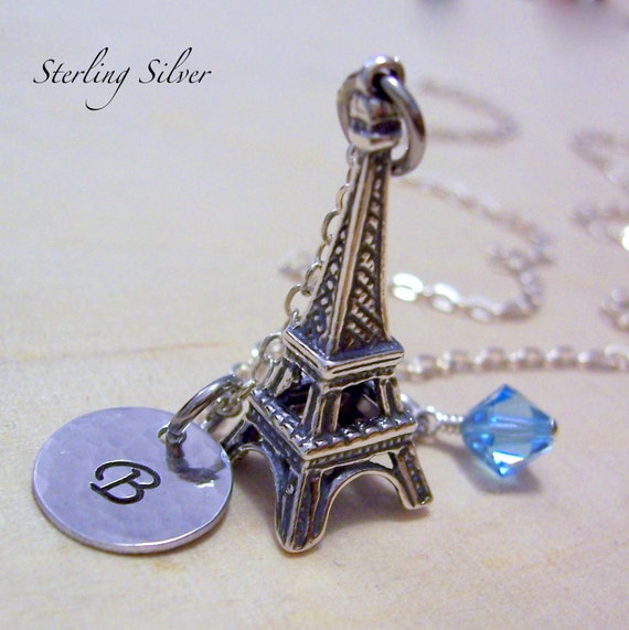 Sterling Silver Eiffel Tower Charm Necklace, Hand Stamped Initial Jewelry, Personalized Eiffel Tower Necklace, Travel Necklace