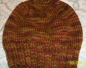 Hand knit hand dyed 100 % wool classic hat skicap watch cap beanie unisex men women brown fall autumn maple fiber rose yarn