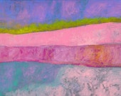 """Abstract Pink Blue Art Wall Decor - Love 16"""" x 12"""" Painting"""