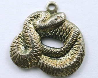 15mm Antique Silver Coiled Snake Charm #217
