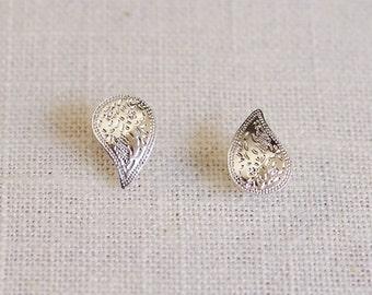 paisley stud earrings . gold paisley earrings . paisley jewelry . simple teardrop earrings . teardrop stud earrings // indian apostrophe